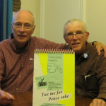 Jack Payden-Travers and Don Woodside at a meeting Oct. 20 at the home of Mary Groh, president of Conscience Canada